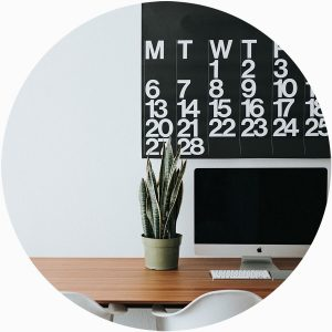 calendar on wall in office space