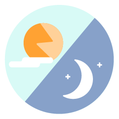 icon with a sun and moon